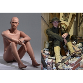 Military Male Sitting Mannequin MSA03