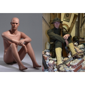 Military Sitting Mannequin ww2